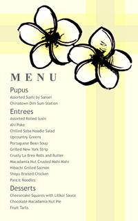 Plumeria Sketch 2 Menu Card