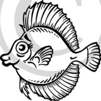 Tropical Illustration 6 Black & White Clip Art