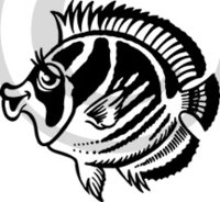 Tropical Illustration 7 Black & White Clip Art