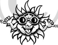 Tropical Illustration 9 Black & White Clip Art