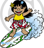 Hawaiian Surfer Girl Cartoon Clip Art