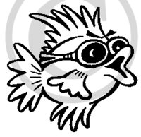 Hawaiian Fish B&W Cartoon 1 Clip Art