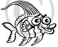 Hawaiian Fish B&W Cartoon 2 Clip Art
