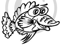 Hawaiian Fish B&W Cartoon 3 Clip Art