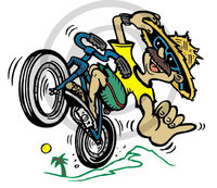 Hawaiian Biker Illustration Clip Art