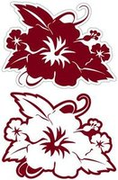 Hibiscus with Leaves Rouge Laser Cut