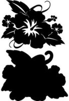 Hibiscus with Leaves Black on Black Laser Cut