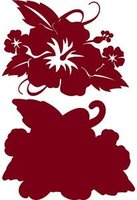 Hibiscus with Leaves Rouge on Rouge Laser Cut