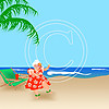 DD15 Hawaii Mrs Claus 8x8 Paper