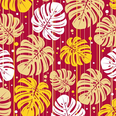 I13 Monstera Red Yellow Stripes 8x8 Paper