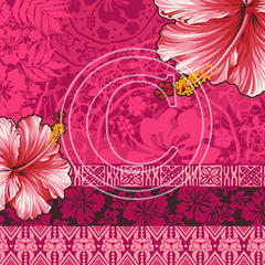G19 Hot Pink Hibiscus Wallpaper 8x8 Paper