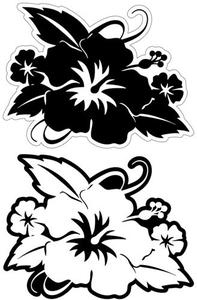 Hibiscus with Leaves Black Laser Cut