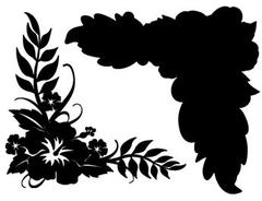 Hibiscus Corner Black on Black Laser Cut