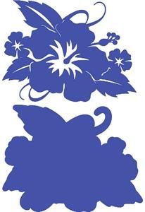 Hibiscus with Leaves Sapphire on Sapphire Laser Cut
