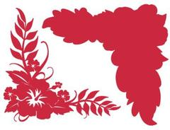 Hibiscus Corner Crimson on Crimson Laser Cut