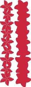 Retro Plumeria Crimson on Crimson Laser Cut Border