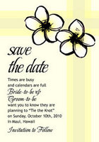Plumeria Sketch 2 Save The Date Card