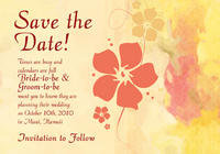 Antique Hibiscus Save The Date Card