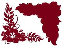 Hibiscus Corner Rouge on Rouge Laser Cut