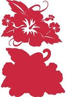 Hibiscus with Leaves Crimson on Crimson Laser Cut