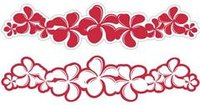 Plumeria Crimson Laser Cut Border